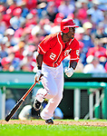 29 August 2010: Washington Nationals outfielder Roger Bernadina in action against the St. Louis Cardinals at Nationals Park in Washington, DC. The Nationals defeated the Cards 4-2 to take the final game of their 4-game series. Mandatory Credit: Ed Wolfstein Photo