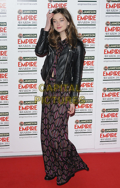 Antonia Clarke.The 18th Jameson Empire Film Awards at Grosvenor House, London, England..March 24th, 2013.full length dress maxi red purple pattern print leather jacket hand arm jumpsuit wide leg flared black.CAP/CAN.©Can Nguyen/Capital Pictures.