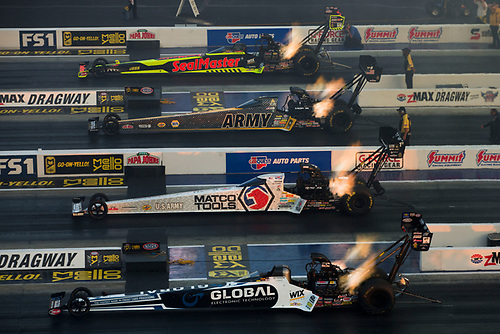 NHRA Mello Yello Drag Racing Series<br /> NHRA Four-Wide Nationals<br /> zMAX Dragway, Concord, NC USA<br /> Friday 28 April 2017<br /> Troy Coughlin, Antron Brown, Shawn Langdon, Sealmaster, Matco Tools, Global Electronic Technology, Top Fuel Dragster<br /> World Copyright: Jason Zindroski<br /> HighRev Photography