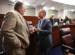 Nevada Sen. Pete Goicoechea, R-Eureka, left, talks with Lt. Gov. Mark Hutchison on the Senate floor at the Legislative Building in Carson City, Nev., on Monday, April 20, 2015. <br /> Photo by Cathleen Allison