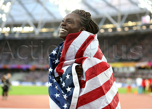 August 12th 2017, London Stadium, East London, England; IAAF World Championships, Day 9; Dawn Harper Nelson of USA wraps the flag of the USA around her in celebration after finishing in 2nd place in the 100 metres hurdles women final