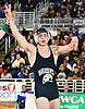 Peter Pappas of Plainview JFK raises his arms after his victory by decision over Tyrese Byron of Long Beach 152 pounds in the Nassau County Division I varsity wrestling finals at Hofstra University on Sunday, Feb. 12, 2017