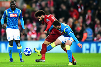 Liverpool's Mohamed Salah vies for possession with Napoli's Mario Rui<br /> <br /> Photographer Richard Martin-Roberts/CameraSport<br /> <br /> UEFA Champions League Group C - Liverpool v Napoli - Tuesday 11th December 2018 - Anfield - Liverpool<br />  <br /> World Copyright © 2018 CameraSport. All rights reserved. 43 Linden Ave. Countesthorpe. Leicester. England. LE8 5PG - Tel: +44 (0) 116 277 4147 - admin@camerasport.com - www.camerasport.com