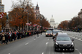 The hearse carrying the flag-draped casket of former President George H.W. Bush heads to a State Funeral at the National Cathedral, Wednesday, Dec. 5, 2018, in Washington. <br /> Credit: Alex Brandon / Pool via CNP
