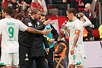 17.03.2019, BayArena, Leverkusen, GER, 1. FBL, Bayer 04 Leverkusen vs. SV Werder Bremen,<br />  <br /> DFL regulations prohibit any use of photographs as image sequences and/or quasi-video<br /> <br /> im Bild / picture shows: <br /> Florian Kohfeldt Trainer / Headcoach (Werder Bremen) spricht mit Max Kruse (Werder Bremen #10), <br /> <br /> Foto © nordphoto / Meuter