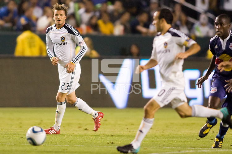 LA Galaxy midfielder David Beckham looks for an open Landon Donovan. The New York Red Bulls beat the LA Galaxy 2-0 at Home Depot Center stadium in Carson, California on Friday September 24, 2010.