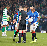 08.11.2019 League Cup Final, Rangers v Celtic: James Tavernier hands the ball to Alfredo Morelos for the penalty kick