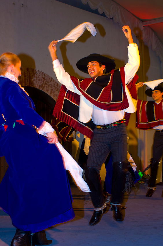 Chilean performers wearing traditional costume, Concha y Toro Winery, Pirque (near Santiago), Chile