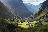 Hjelldalen mountain valley in autumn, Sogn og Fjordane, Norway
