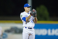 Burlington Royals relief pitcher Anthony Kidston (21) looks to his catcher for the sign against the Princeton Rays at Burlington Athletic Stadium on August 12, 2016 in Burlington, North Carolina.  The Royals defeated the Rays 9-5.  (Brian Westerholt/Four Seam Images)