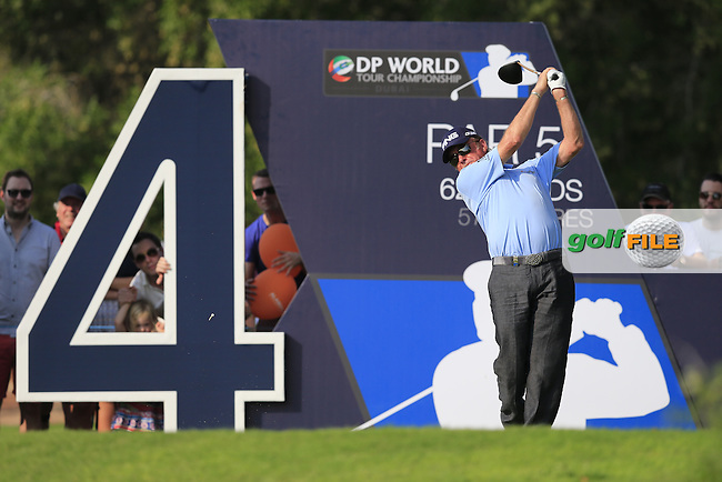 Miguel Angel Jimenez (ESP) on the 14th tee during Round 2 of the DP World Tour Championship at the Earth course,  Jumeirah Golf Estates in Dubai, UAE,  20/11/2015.<br /> Picture: Golffile | Thos Caffrey<br /> <br /> All photo usage must carry mandatory copyright credit (&copy; Golffile | Thos Caffrey)