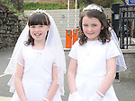 Aine O'Brien and Amy Lucas from Scoil Mhuire Fatima who made their First Holy Communion in St Mary's church. Photo: Colin Bell/pressphotos.ie