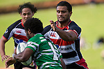 Lelia Masaga  lines  up Tomasi Cama for the tackle late in the first half. Air New Zealand Cup rugby game between the Counties Manukau Steelers & Manawatu Turbos, played at Growers Stadium Pukekohe on Staurday September 20th 2008..Counties Manukau won 27 - 14 after trailing 14 - 7 at halftime.