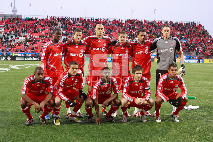 Toronto FC starting XI. Toronto FC and the New York Red Bulls played to a 1-1 tie during a Major League Soccer match at BMO Field in Toronto, Ontario, Canada, on May 1, 2008.