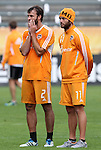 19 November 2011: Eddie Robinson (2) and Brad Davis (11). The Houston Dynamo held a practice session at the Home Depot Center in Carson, CA one day before playing in MLS Cup 2011.