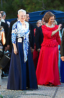 Queen Margrethe of Denmark, and Queen Sofia of Spain attend The Wedding of Prince Nikolaos of Greece and Tatiana Blatnik at the monastery of Ayios Nikolaos on the Island of Spetses, Greece