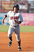Erik Komatsu (8) of the Brevard County Manatees during a game vs. the Daytona Cubs June 9 2010 at Jackie Robinson Ballpark in Daytona Beach, Florida. Daytona won the game against Brevard 6-2. Photo By Scott Jontes/Four Seam Images