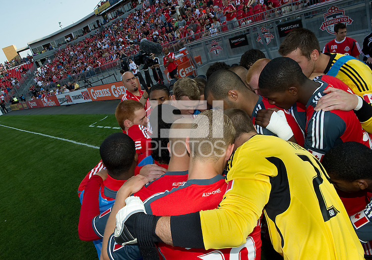 The Toronto FC team huddle before an MLS game between the Seattle Sounders FC and the Toronto FC at BMO Field in Toronto on June 18, 2011..The Seattle Sounders FC won 1-0.