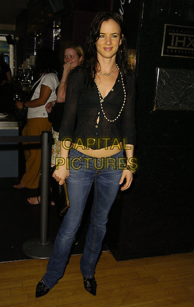 "JULIETTE LEWIS.At the UK Film Premiere of ""Little Fish"",.Curzon Soho, London, England, 16th July 2006..full length juliet black top jeans see through sheer shirt  beads necklace.Ref: CAN.www.capitalpictures.com.sales@capitalpictures.com.©Can Nguyen/Capital Pictures"