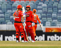 1st November 2019; Western Australia Cricket Association Ground, Perth, Western Australia, Australia; Womens Big Bash League Cricket, Perth Scorchers versus Melbourne Renegades; Sophie Molineux and Danielle Wyatt of the Melbourne Renegades talk tactics in the middle of the pitch
