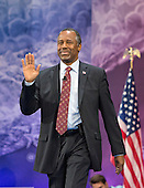 Former neurosurgeon Ben Carson, a former candidate for the Republican Party nomination for President of the United States, arrives to speak at the Conservative Political Action Conference (CPAC) at the Gaylord National Resort and Convention Center in National Harbor, Maryland on Friday, March 4, 2016.<br /> Credit: Ron Sachs / CNP
