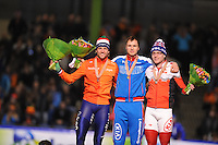 SCHAATSEN: HEERENVEEN: IJsstadion Thialf, 15-02-15, World Single Distances Speed Skating Championships, Podium 500m Men, Michel Mulder (NED), Pavel Kulizhnikov (RUS), Laurent Dubreuil (CAN), ©foto Martin de Jong