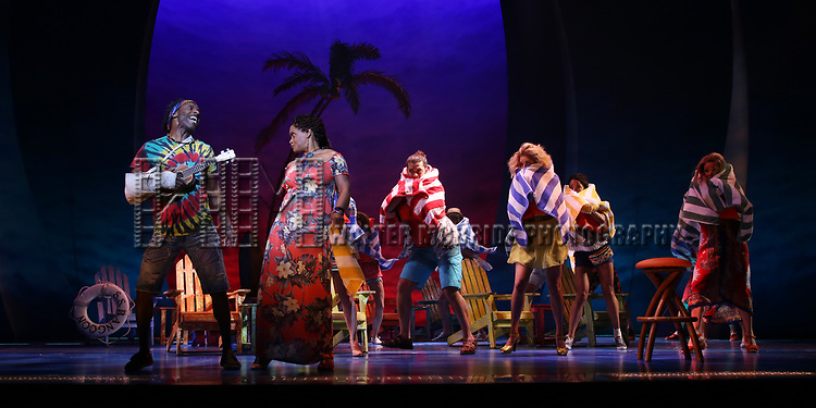 Andre Ward and Rema Webb with cast during the Press Sneak Peak for the Jimmy Buffett  Broadway Musical 'Escape to Margaritaville' on February 15, 2018 at the Marquis Theatre in New York City.