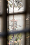 A watchtower as seen from the dining hall of Alcatraz Prison in San Francisco, California.