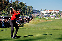 Tiger Woods (USA) on the 9th tee during the final round of the The Genesis Invitational, Riviera Country Club, Pacific Palisades, Los Angeles, USA. 15/02/2020<br /> Picture: Golffile | Phil Inglis<br /> <br /> <br /> All photo usage must carry mandatory copyright credit (© Golffile | Phil Inglis)