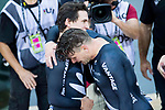 The team of New Zealand with Ethan Mitchell, Sam Webster and Edward Dawkins celebrates in Men's Team Sprint Finals match as part of the 2017 UCI Track Cycling World Championships on 12 April 2017, in Hong Kong Velodrome, Hong Kong, China. Photo by Victor Fraile / Power Sport Images