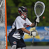 Chris Porzelt #45, Cold Spring Harbor goalie, squares to a shooter during the NYSPHSAA varsity boys lacrosse Class C state semifinals against Pleasantville at Adelphi University in Garden City, NY on Wednesday, June 7, 2017.