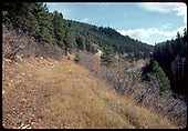 Old RGS railroad grade, possibly on west side of Dallas Divide.<br /> RGS  Dallas Divide ?, CO  Taken by Dorman, Richard L. - ca. 1970-1979