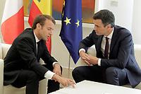 King Felipe VI of Spain receives the President of the French Republic Emmanuel Macron.