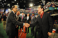 Former MLB All Star Joe Torre and catcher Clint Coulter (Union H.S.) the number twentyseventh overall pick to the Milwaukee Brewers during the MLB Draft on Monday June 04,2012 at Studio 42 in Secaucus, NJ.   (Tomasso DeRosa/ Four Seam Images)