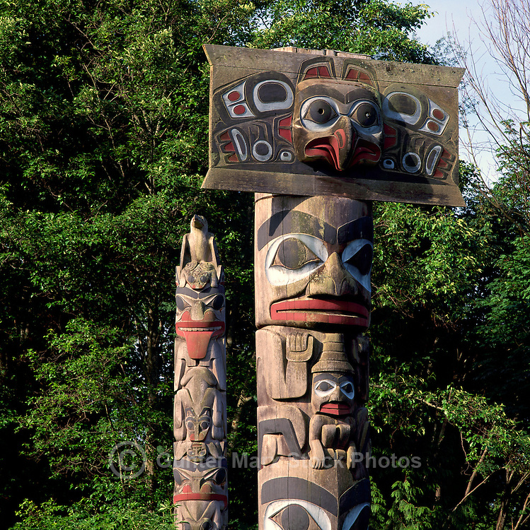 Haida Totem Poles at Museum of Anthropology, University of British Columbia (UBC), Vancouver, BC, British Columbia, Canada.  Mortuary Pole (right).