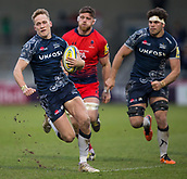 24th March 2018, AJ Bell Stadium, Salford, England; Aviva Premiership rugby, Sale Sharks versus Worcester Warriors; Mike Haley of Sale Sharks runs in a try