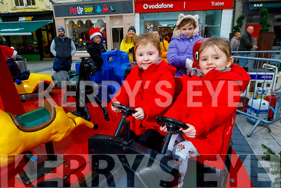 Twins Madelaine and Kenzie O'Shea having fun and enjoying the festive fun at the Snow Day in the square in Tralee on Saturday.