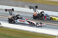 Sep 4, 2017; Clermont, IN, USA; NHRA top fuel driver Steve Torrence (near) alongside Antron Brown during the US Nationals at Lucas Oil Raceway. Mandatory Credit: Mark J. Rebilas-USA TODAY Sports