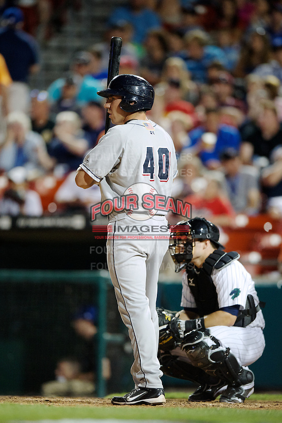 Colorado Springs Sky Sox outfielder Matt McBride #40 during the Triple-A All-Star game featuring the Pacific Coast League and International League top players at Coca-Cola Field on July 11, 2012 in Buffalo, New York.  PCL defeated the IL 3-0.  (Mike Janes/Four Seam Images)