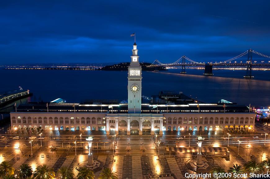 The Embarcadero in San Francisco, California at night.