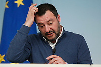 Matteo Salvini <br /> Rome January 14th 2019. Press conference of the Minister of the Internal Affairs, of the Premier and of the Minister of Justice.<br /> Foto Samantha Zucchi Insidefoto