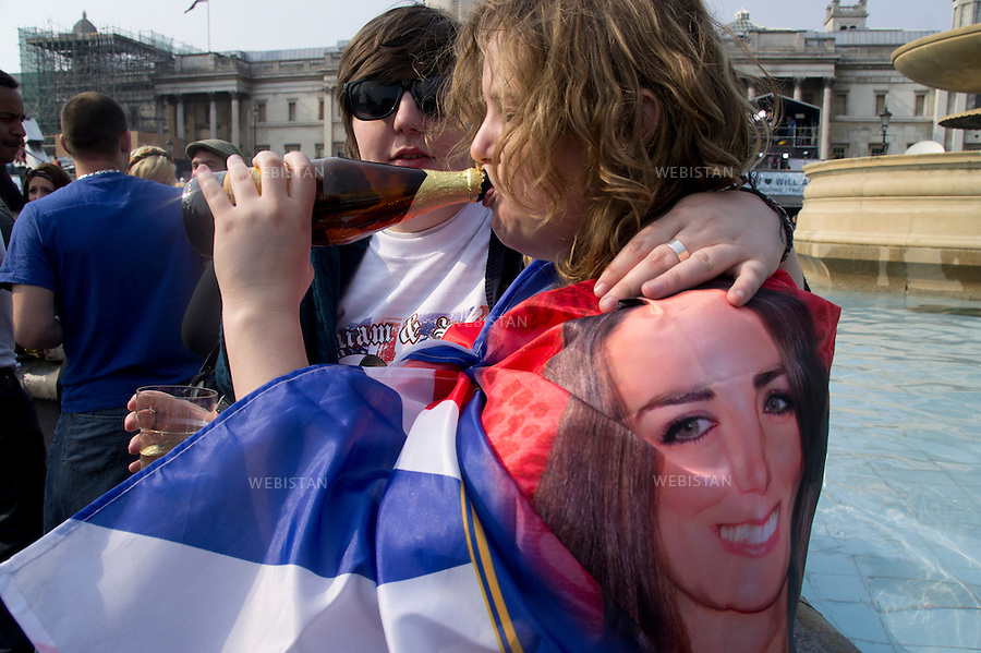 England. London. Trafalgar square. April 2011:  William and Kate Royal wedding. Spectators of the wedding.