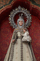 Statue of Virgin Mary (detail), Iglesia de San Esteban (St Stephen's Church), 12th-13th centuries, Segovia, Castile and Leon, Spain. Baroque interior rebuilt after fire, 18th century. Picture by Manuel Cohen
