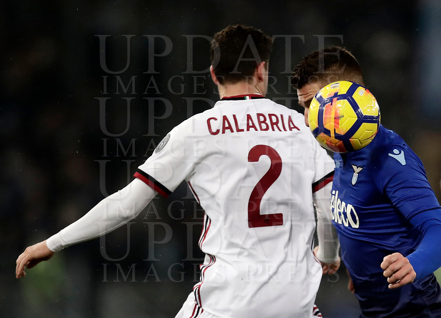 Football Soccer: Tim Cup semi-final second Leg, SS Lazio vs AC Milan, Stadio Olimpico, Rome, Italy, February 28, 2018.<br /> Lazio's Sergej Milinkovic (r) in action with Milan's Davide Calabria (l)  during the Tim Cup semi-final football match between SS Lazio vs AC Milan, at Rome's Olympic stadium, February 28, 2018.<br /> <br /> UPDATE IMAGES PRESS/Isabella Bonotto