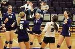 SIOUX FALLS, SD - OCTOBER 4:  Kayla Crane #9 from the University of Sioux Falls celebrates a point with her team against Minot State during their game Saturday afternoon at the Stewart Center. (Photo/Dave Eggen/Inertia)