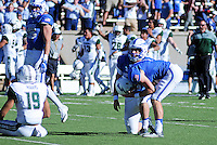 October 22, 2016 - Colorado Springs, Colorado, U.S. -   Air Force place kicker, Luke Strebel #11, reacts to missing a last second field goal that would have won the game during the NCAA Football game between the University of Hawaii Rainbow Warriors and the Air Force Academy Falcons, Falcon Stadium, U.S. Air Force Academy, Colorado Springs, Colorado.  Hawaii defeats Air Force in double overtime 43-27.