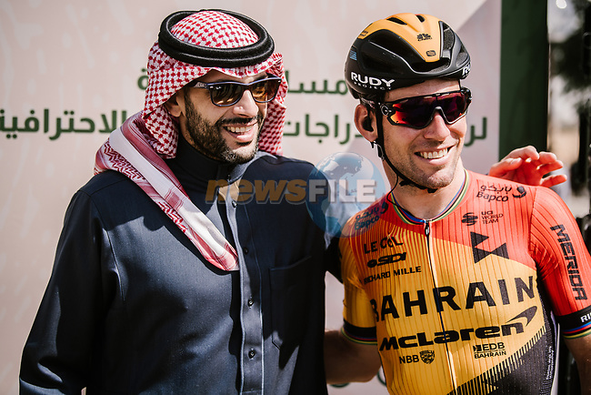 Mark Cavendish (GBR) Bahrain-McLaren at sign on before Stage 1 of the Saudi Tour 2020 running 173km from Saudi Arabian Olympic Committee to Jaww, Saudi Arabia. 4th February 2020. <br /> Picture: ASO/Pauline Ballet | Cyclefile<br /> All photos usage must carry mandatory copyright credit (© Cyclefile | ASO/Pauline Ballet)