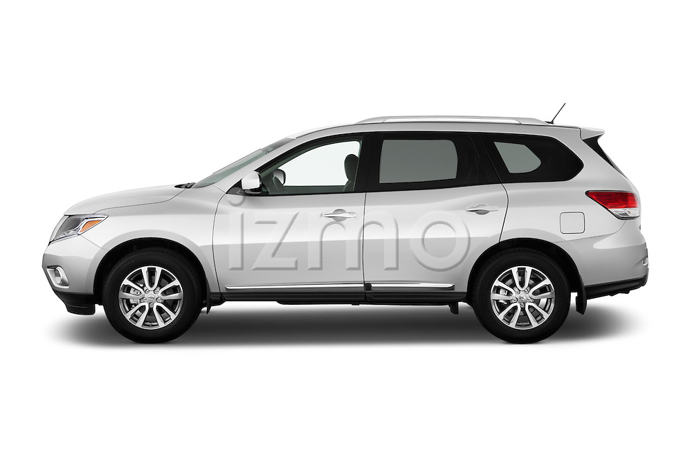 Car Driver side profile view of a 2015 Nissan Pathfinder Sl 2Wd 5 Door Suv 2WD Side View