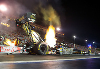 Jun 19, 2015; Bristol, TN, USA; NHRA top fuel driver Tony Schumacher during qualifying for the Thunder Valley Nationals at Bristol Dragway. Mandatory Credit: Mark J. Rebilas-USA TODAY Sports