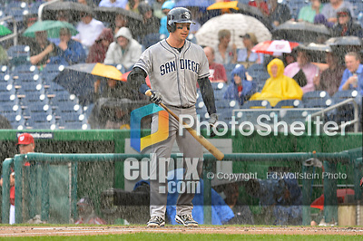 15 May 2012: San Diego Padres catcher John Baker stands in the rain during action against the Washington Nationals at Nationals Park in Washington, DC. The Padres defeated the Nationals 6-1 to split their 2-game series. Mandatory Credit: Ed Wolfstein Photo